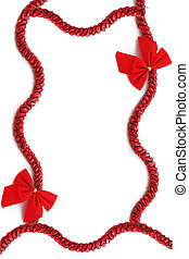 christmas ribbon - red christmas tinsel and bow frame or...