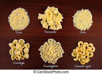 Pasta collection 3. - Italian pasta collection on wooden...