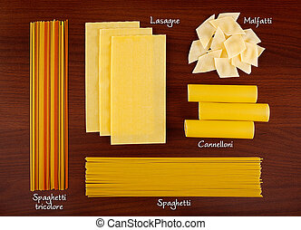 Pasta collection 4 - Italian pasta collection on wooden...
