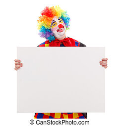 Clown with blank white board - Clown holding a blank white...