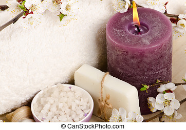 Spa with purple candle