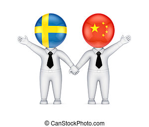 Swedish-Austrian cooperation concept.Isolated on white...