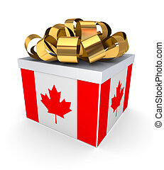 Giftbox with canadian flagIsolated on white background3d...