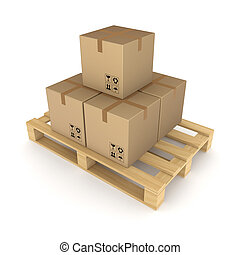 Carton boxes on palletIsolated on white background3d...