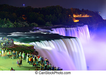 Niagara Falls at night - Niagara Falls lit at night by...