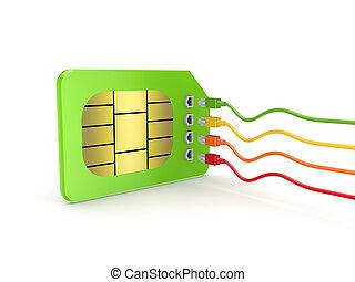 colorido, patchcords, conectado, Sim, tarjeta