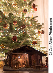 Natal, árvore, com, Berço