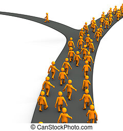 Right Decision - Orange cartoon characters on the road