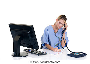 Female doctor in office - Attractive female doctor making...