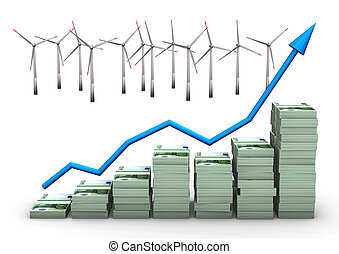Money Chart Wind Turbines - Money chart with wind turbines...
