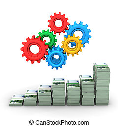 Money Chart Gears - Money chart with colorful gears White...