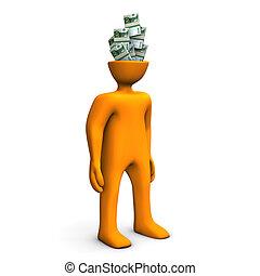 Money in the head - Orange cartoon character has money in...