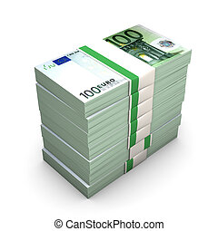 Euro Notes - Euro, one hundred notes on the white background...