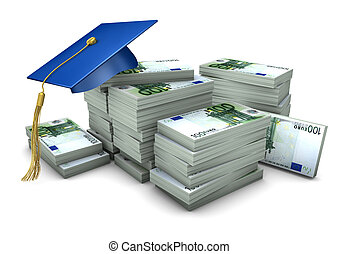 Graduation Cap Money - Blue graduation cap with euro notes...