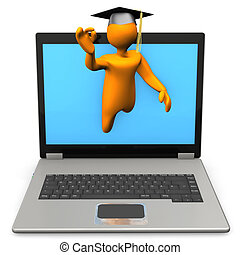 Best E-Learning - Orange toon as graduate with laptop on the...
