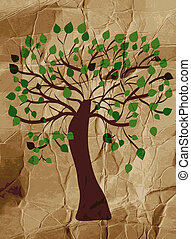 Organic tree on the paper background design