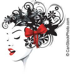 Floral Hairstyle with a red ribbon