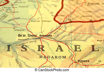 israel - close-up map detail of Israel