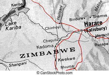 zimbabwe - close-up map detail of Zimbabwe