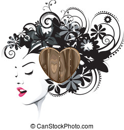 Hairstyle with a wooden accessory