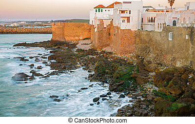 Asilah - Long exposure at sunset in Asilah and atlantic...