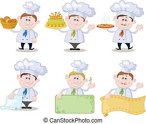 Set of cartoon cooks, chefs: hold basket of bread, cake,...
