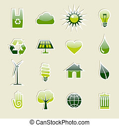 Green environment icons set - Go Green modern glossy icon...