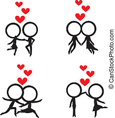 stick figure with hearts background - four stick figure...