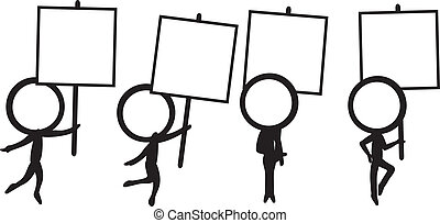 four stick figure with signboard - four simple stick figure...