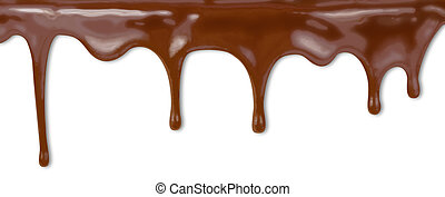 liquid chocolate dripping from cake on white background with...