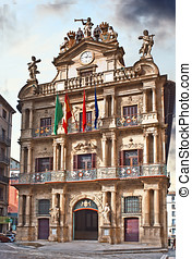facade of the Town Hall of Pamplona, Navarra, Spain
