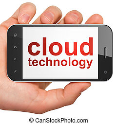 Cloud computing technology, networking concept: smartphone with