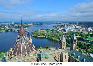 Ottawa cityscape in the day over river with historical...