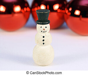 Snow man with shiny red christmas balls behind