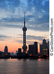 Shanghai morning silhouette before sunrise with city skyline...