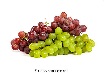 Bunch of White and Red Grapes laying isolated - A shot of a...