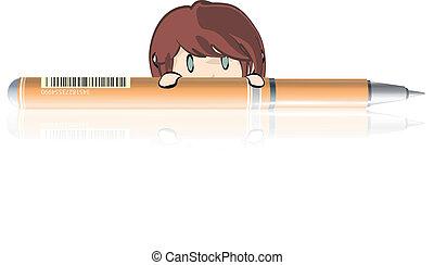 Girl behind a orange pen.