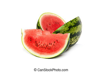 Fresh, ripe, juicy watermelon Shot on White - Watermelon...