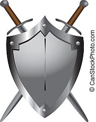 medieval, espadas, escudo