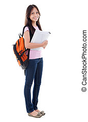 Mixed race Asian teen student