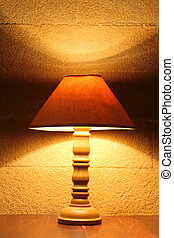 old lamp on table