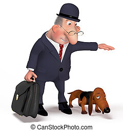Illustration the gentleman with a dog.