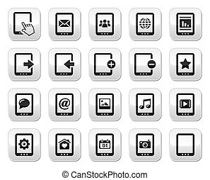 Tablet grey square buttons set