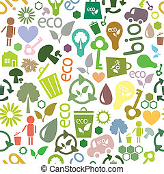 colored seamless pattern of ecological symbols