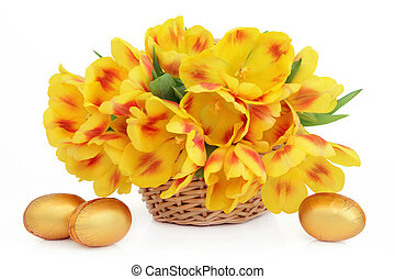 Easter Flower Basket - Yellow and red tulip flower...