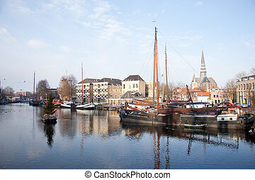 old ships in harbour of Gouda