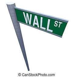 Wall Street Sign - Wall Street sign isolated on white...