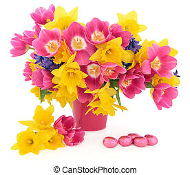 Easter Flowers and Eggs - Tulip, daffodil and hyacinth...