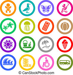 Tourism, Recreation & Vacation, icons set. Sport, Travel....