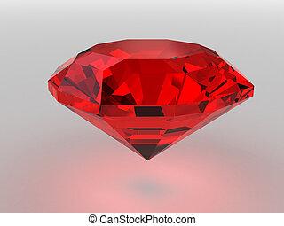Dark-red gemstone rendered with soft shadows